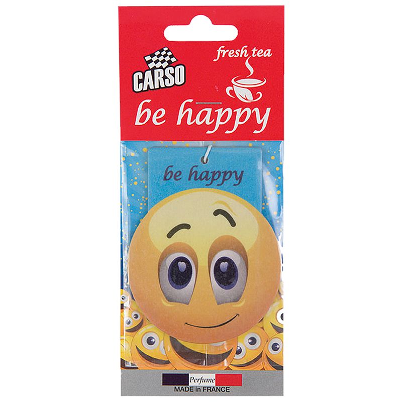 C800 K2 CARSO BE HAPPY Air Freshener Fresh Tea 10g ароматизатор висящ емотиконка Свеж чай