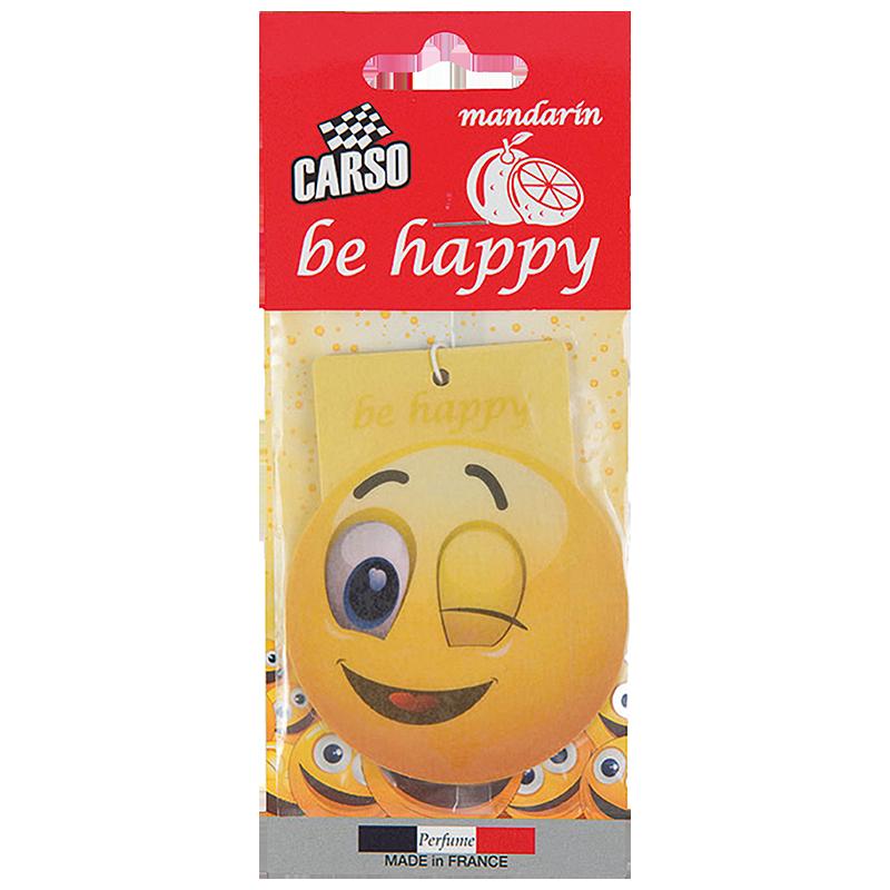 C801 K2 CARSO BE HAPPY Air Freshener Mandarin 10g ароматизатор висящ емотиконка Мандарина
