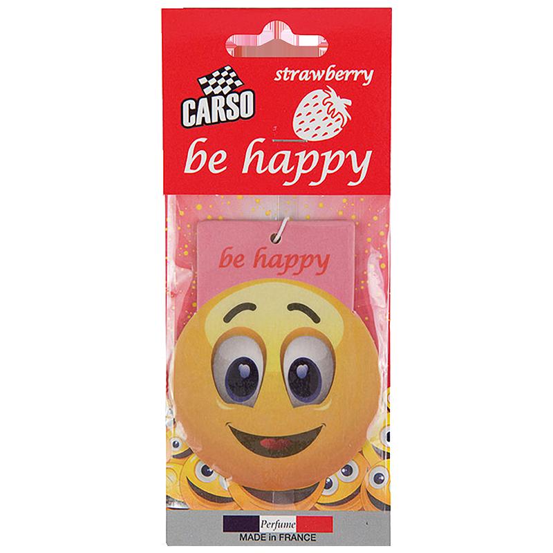 C803 K2 CARSO BE HAPPY Air Freshener Strawberry 10g ароматизатор висящ емотиконка Ягода