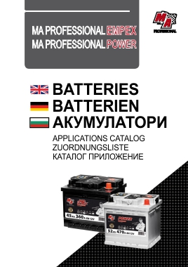 Catalog MA Professional Car Batteries cover